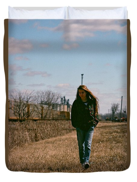 Duvet Cover featuring the photograph Small Town Girl by Carl Young
