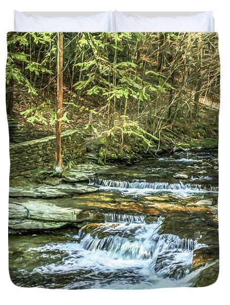 Small Waterfall In Creek And Stone Stairs Duvet Cover