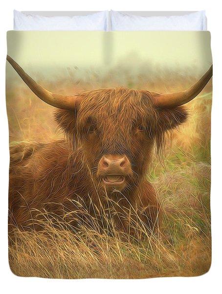Smiling Highland Cow Duvet Cover
