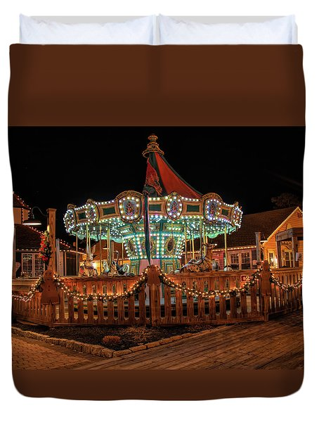 Duvet Cover featuring the photograph Smithville Carousel At Night by Kristia Adams