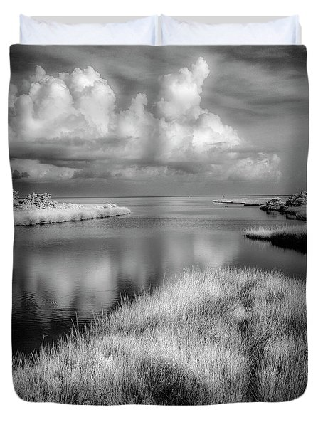 Smooth Waters Bw Duvet Cover