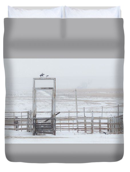 Duvet Cover featuring the photograph Snow And Corral 01 by Rob Graham