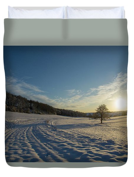 Snow And Sunset Duvet Cover
