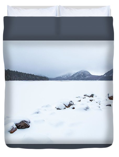 Snow Cover Jordan Pond Duvet Cover