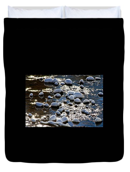 Snow Covered Rocks Duvet Cover