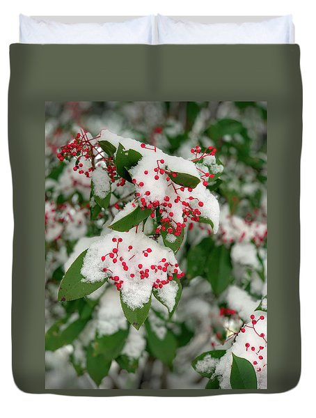 Snow Covered Winter Berries Duvet Cover