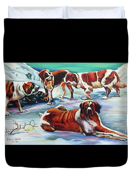 Snow Dogs Duvet Cover
