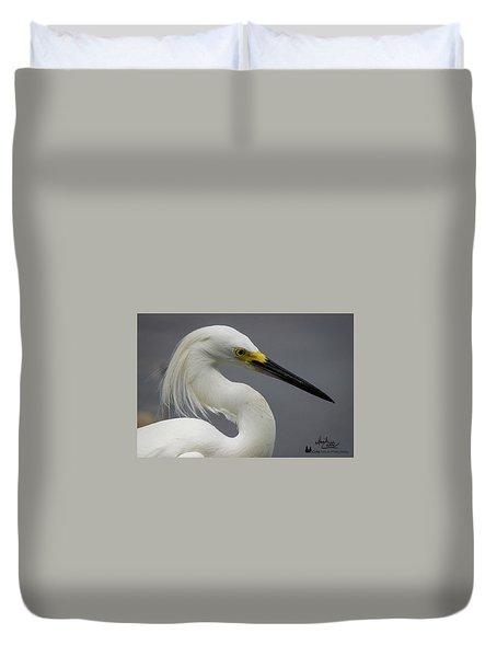 Snow Egret Portrait Duvet Cover