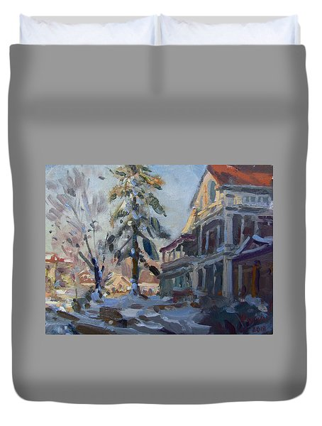 Snow In Town Duvet Cover