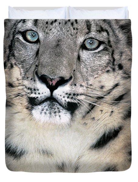 Snow Leopard Portrait Endangered Species Wildlife Rescue Duvet Cover