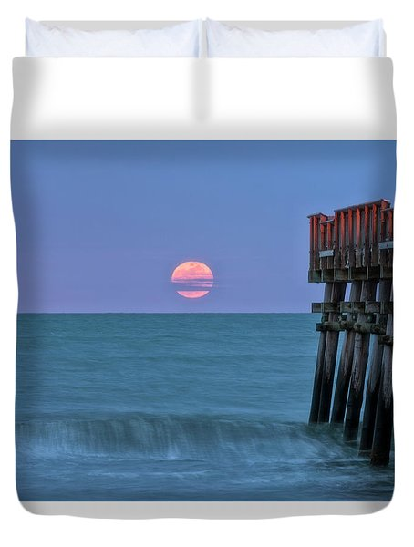 Duvet Cover featuring the photograph Snow Moon by Russell Pugh