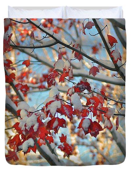 Snow On Maple Leaves Duvet Cover