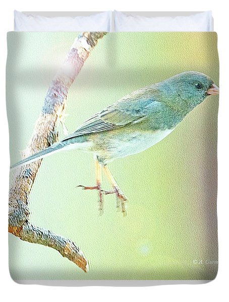 Snowbird Jumps From Tree Branch Duvet Cover