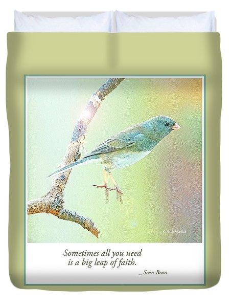 Snowbird Jumps From Tree Branch Duvet Cover