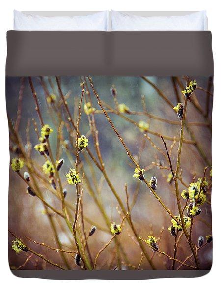 Snowfall On Budding Willows Duvet Cover