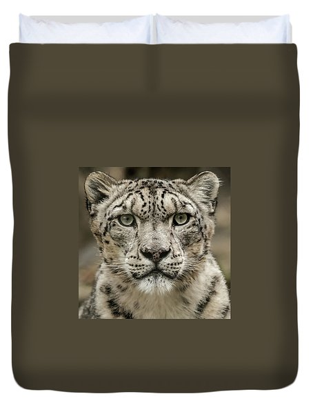 Snowleopardfacial Duvet Cover
