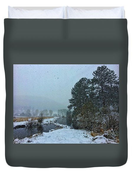 Duvet Cover featuring the photograph Snowstorm At The Lake by Dan Miller