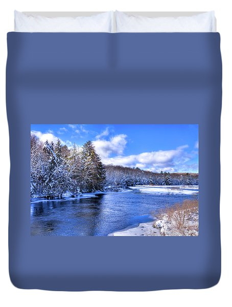 Duvet Cover featuring the photograph Snowy Banks Of The Moose River by David Patterson