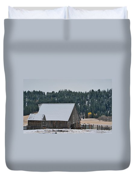 Snowy Barn Yellow Tree Duvet Cover