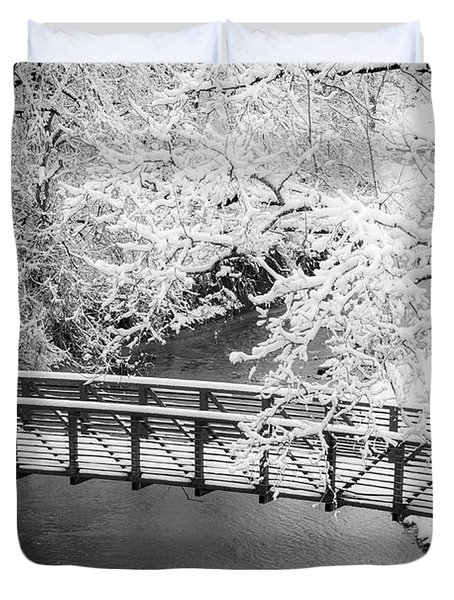 Snowy Bridge On Mill Creek Duvet Cover