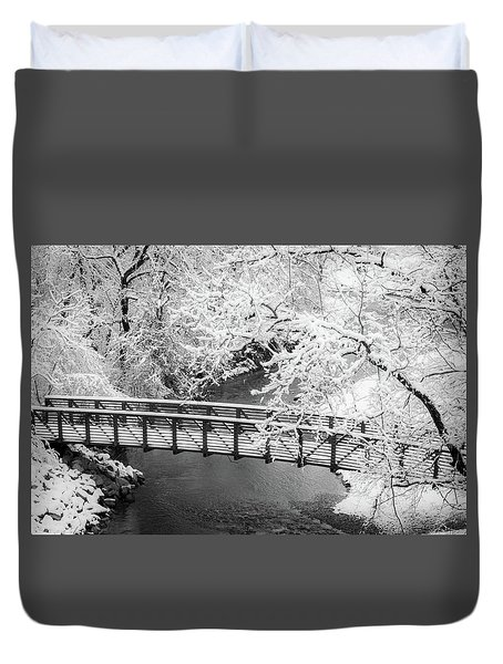 Snowy Bridge On Mill Creek Duvet Cover