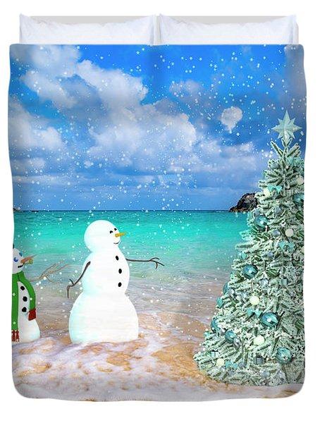 Snowy Couple On Christmas Tree Beach Duvet Cover