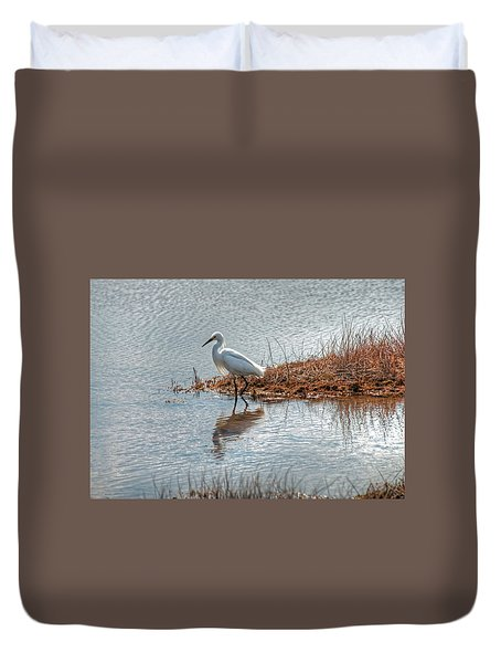 Duvet Cover featuring the photograph Snowy Egret Hunting A Salt Marsh by Wayne Marshall Chase