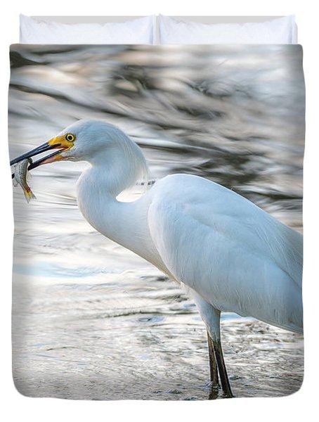 Snowy Egret With Dinner Duvet Cover