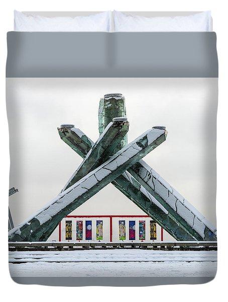 Snowy Olympic Cauldron Duvet Cover