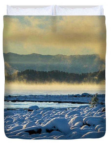 Snowy Shoreline Sunrise Duvet Cover