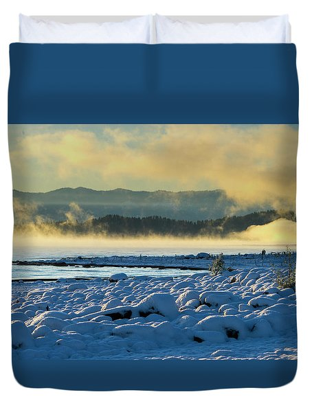Snowy Shoreline Sunrise Duvet Cover