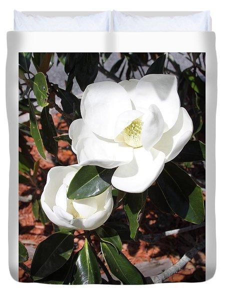 Snowy White Gardenia Blossoms Duvet Cover
