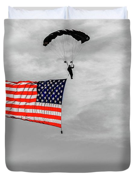 Socom Flag Jump In Selective Color Duvet Cover