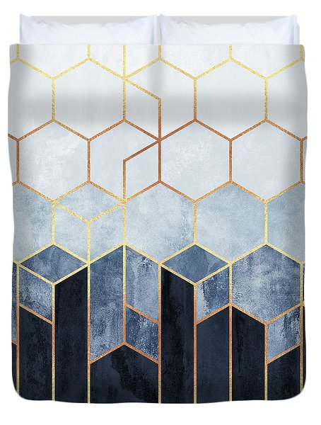 Soft Blue Hexagons Duvet Cover