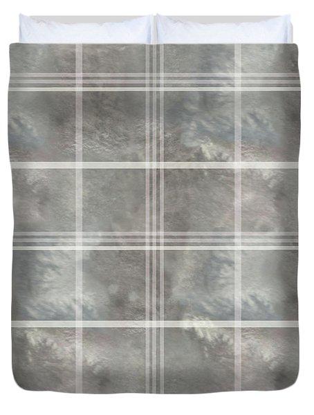 Soft Textured Cream And Blue Plaid Duvet Cover