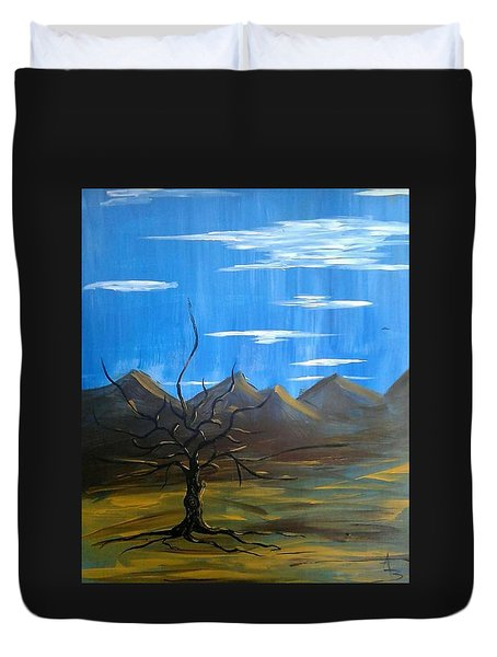 Duvet Cover featuring the painting Solo And Beautiful  by Aaron Bombalicki