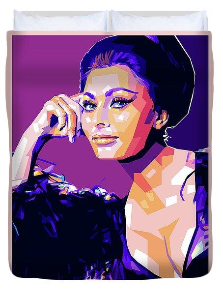 Sophia Loren Pop Art Duvet Cover