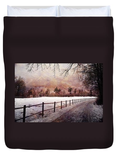 Duvet Cover featuring the photograph Sounds In The Paddock by Randi Grace Nilsberg