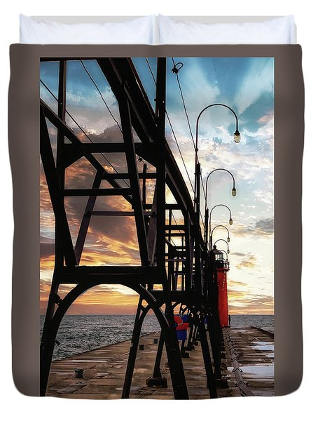 Duvet Cover featuring the photograph South Haven Pier Sunset by Lars Lentz