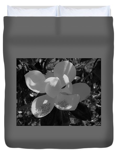 Southern Magnolia In Black And White Duvet Cover