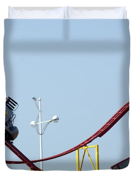 Southport.  The Fairground. Crash Test Ride. Duvet Cover