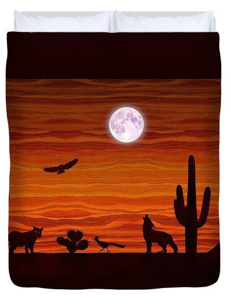 Southwest Desert Silhouette Duvet Cover