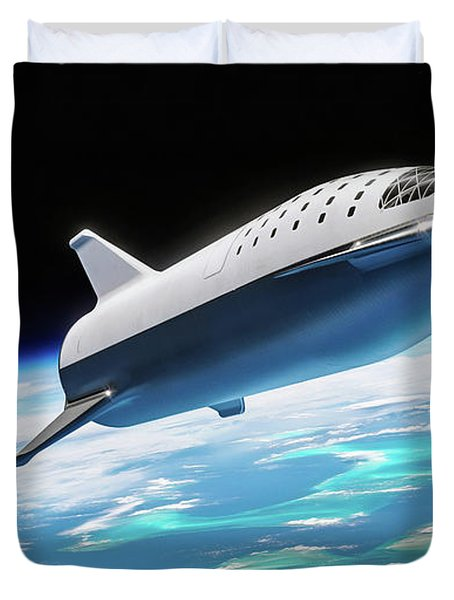 Spacex Bfr Big Falcon Rocket With Earth Duvet Cover