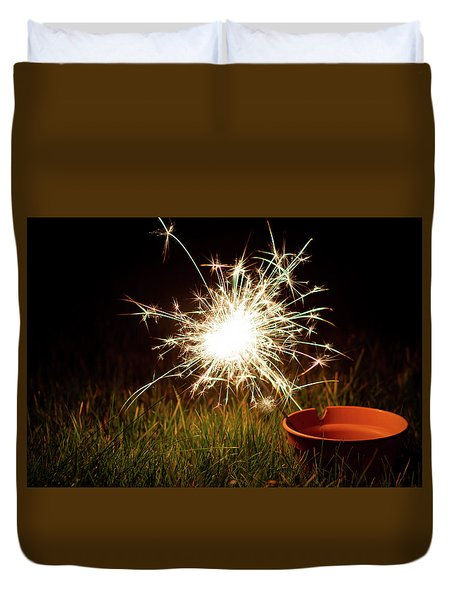 Duvet Cover featuring the photograph Sparkler In A Plant Pot by Scott Lyons