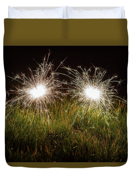 Duvet Cover featuring the photograph Sparklers In The Grass by Scott Lyons