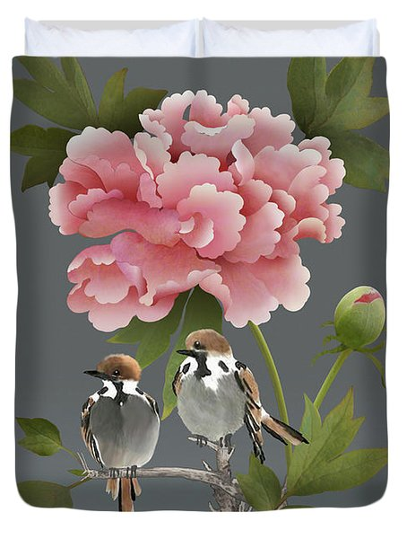 Sparrows And Peony Duvet Cover