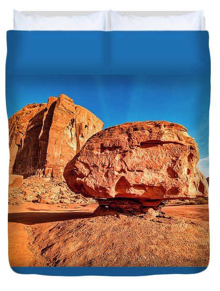 Duvet Cover featuring the photograph Spearhead Mesa's Balancing Rock by Andy Crawford