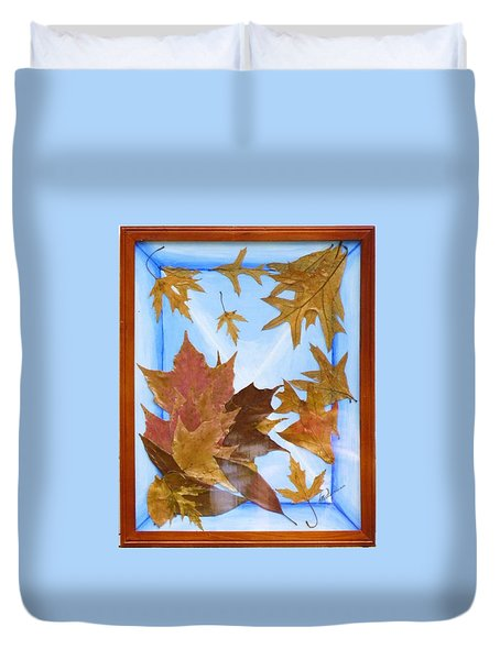 Duvet Cover featuring the mixed media Splattered Leaves by Elly Potamianos