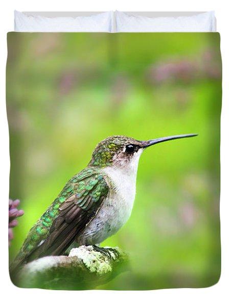 Spring Beauty Ruby Throat Hummingbird Duvet Cover