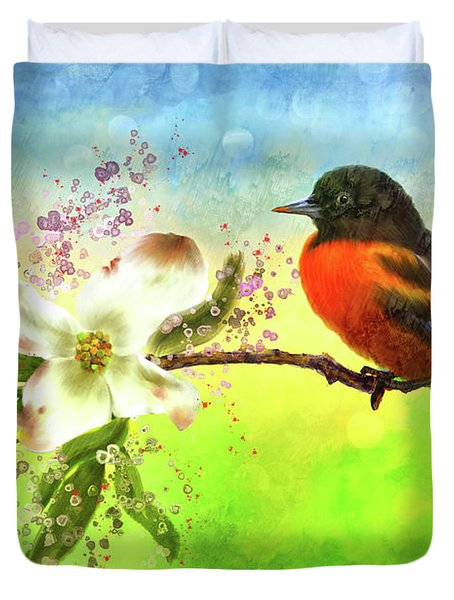 Spring Flower And Oriole Duvet Cover